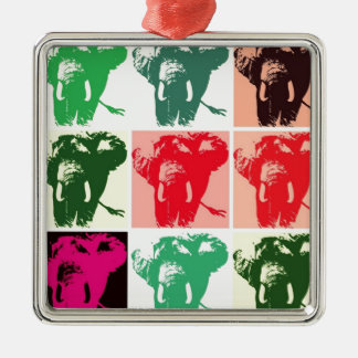 Elefantes del arte pop adorno cuadrado plateado