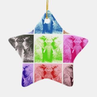 Elefantes del arte pop adorno de cerámica en forma de estrella