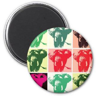 Elefantes del arte pop imán redondo 5 cm