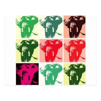 Elefantes del arte pop postal