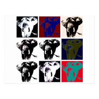 Elefantes del arte pop tarjeta postal
