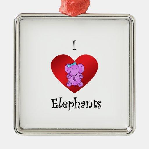 Elefantes del corazón I en púrpura y azul Ornamento Para Arbol De Navidad