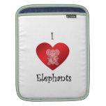 Elefantes del corazón I en rojo Funda Para iPads