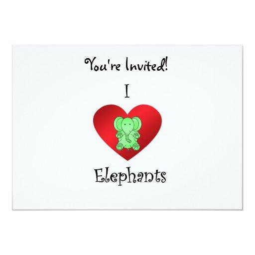 Elefantes del corazón I en verde Invitación