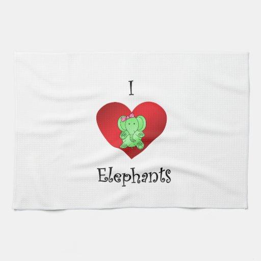 Elefantes del corazón I en verde y rosa Toallas De Mano