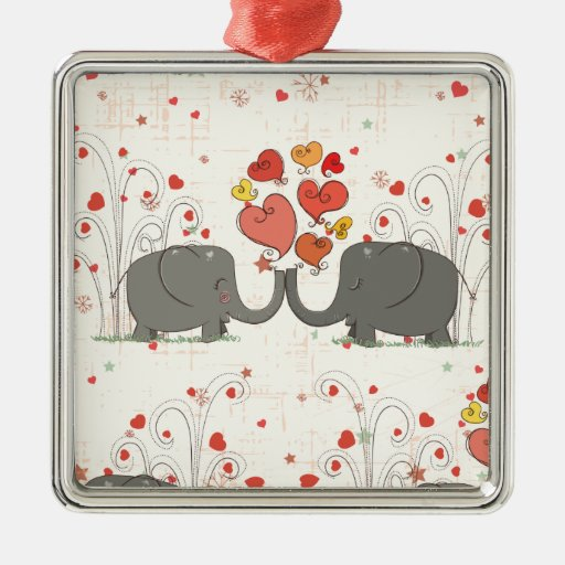 Elefantes del el día de San Valentín Adorno Navideño Cuadrado De Metal