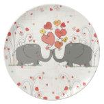 Elefantes del el día de San Valentín Platos De Comidas
