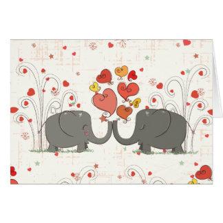 Elefantes del el día de San Valentín Felicitacion