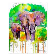 Elefantes del safari postales