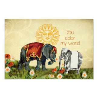 Elefantes del vintage en amor fotografia