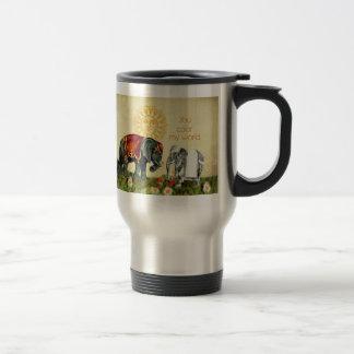 Elefantes del vintage en amor tazas