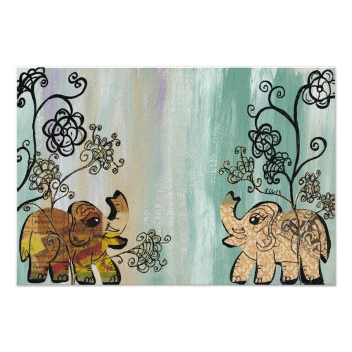 Elefantes del vintage póster