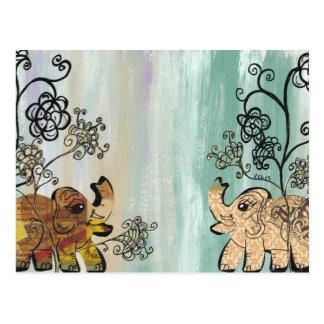Elefantes del vintage tarjetas postales
