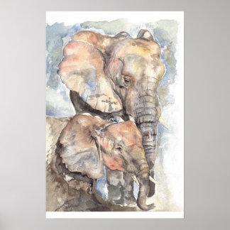 Elefantes del Watercolour Poster