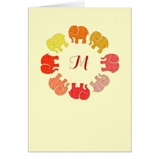 Elefantes elegantes lindos de moda del monograma tarjeta de felicitación