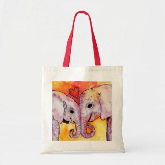 Elefantes en amor bolsa de mano