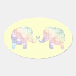 elefantes en colores pastel pegatina ovalada