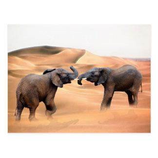 Elefantes en el desierto tarjeta postal