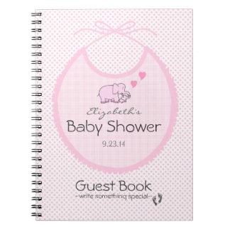 Elefantes en el libro de huésped rosado de la duch libreta