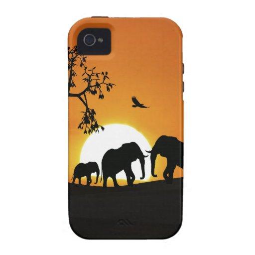 Elefantes en la puesta del sol Case-Mate iPhone 4 carcasa