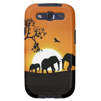 Elefantes en la puesta del sol galaxy s3 fundas