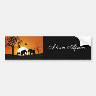 Elefantes en la puesta del sol pegatina para auto