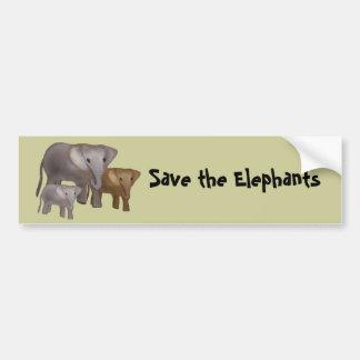 Elefantes en las pegatinas para el parachoques sal etiqueta de parachoque