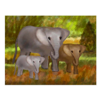 Elefantes en las postales de la selva tropical