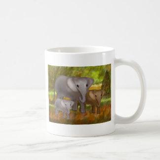 Elefantes en las tazas de la selva tropical