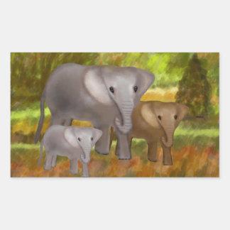 Elefantes en los pegatinas de la selva tropical pegatina rectangular