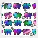 Elefantes enrrollados pegatina cuadradas