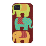 Elefantes étnicos con las flores en el rojo marrón iPhone 4/4S carcasa