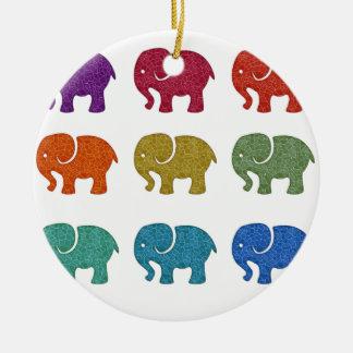 Elefantes femeninos de moda lindos coloridos adorno navideño redondo de cerámica