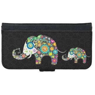 Elefantes florales retros coloridos funda cartera para iPhone 6
