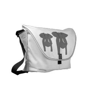 ¡Elefantes, frente y vista posterior! Bolsa De Mensajería