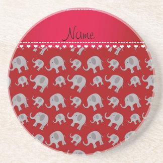 Elefantes grises rojos conocidos personalizados posavasos personalizados