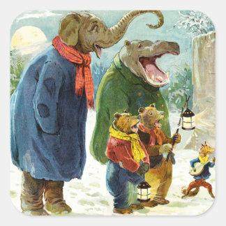 Elefantes Hippopotamus y navidad Caroling de los Pegatina Cuadrada