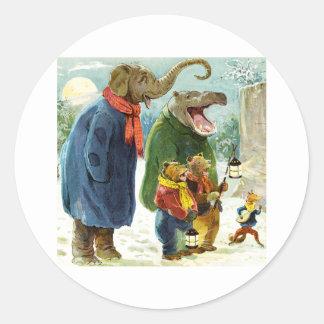 Elefantes Hippopotamus y navidad Caroling de los Pegatina Redonda