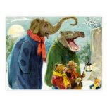 Elefantes Hippopotamus y navidad Caroling de los Postales