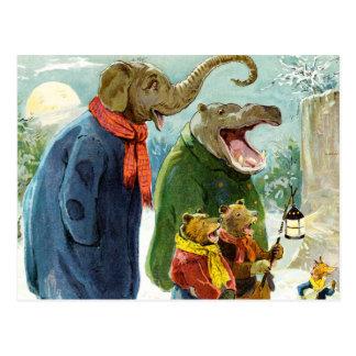 Elefantes Hippopotamus y navidad Caroling de los Postal