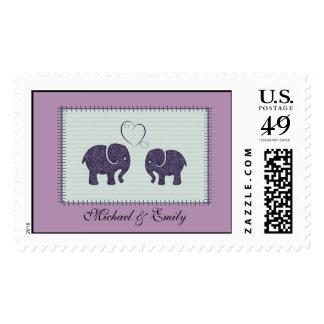 Elefantes lindos alegres en remiendo del amor sellos
