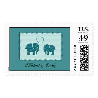 Elefantes lindos alegres en remiendo del amor timbre postal