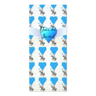 """Elefantes lindos de la diversión y globos azules invitación 4"""" x 9.25"""""""
