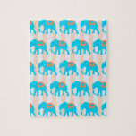 Elefantes lindos de las azules turquesas del trull puzzle