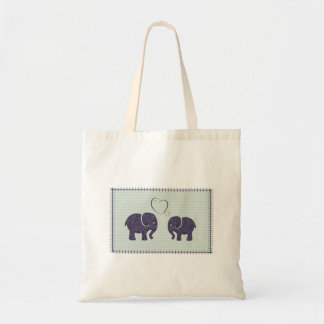 Elefantes lindos de moda elegantes en amor bolsa tela barata