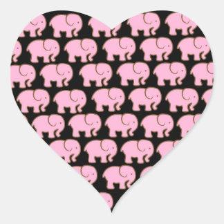 Elefantes lindos rosados bonitos en negro calcomanías de corazones personalizadas