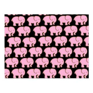 Elefantes lindos rosados bonitos en negro postales