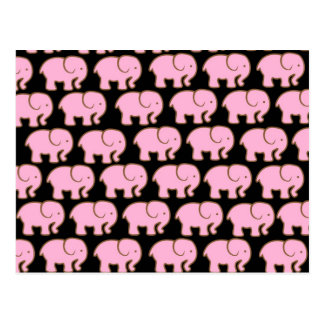Elefantes lindos rosados bonitos en negro tarjeta postal