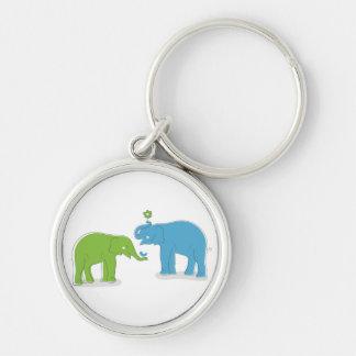Elefantes Llavero Redondo Plateado