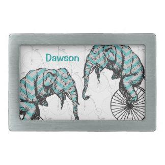 ¡Elefantes más las bicis YIKES igual! Hebillas De Cinturon Rectangulares